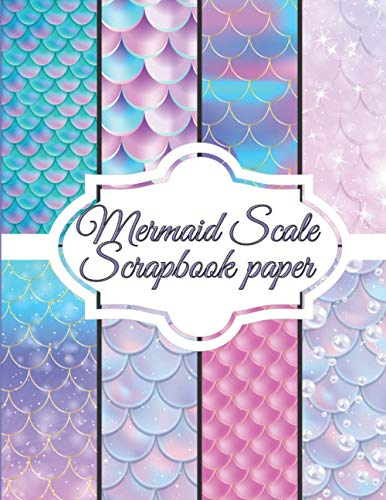 """Mermaid Scale Scrapbook paper: Scrapbooking Paper size 8.5 """"x 11""""