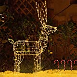 "EAMBRITE 48"" 250LT Christmas Reindeer Light Pre-lit Outdoor Holiday Deer Xmas Yard Art Decoration"