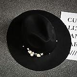 Nuevo Sombrero de otoño e Invierno para Mujer, imitación de Lana, cúpula, Perla, Moda Coreana, Grandes Aleros, Regalo para Mujer