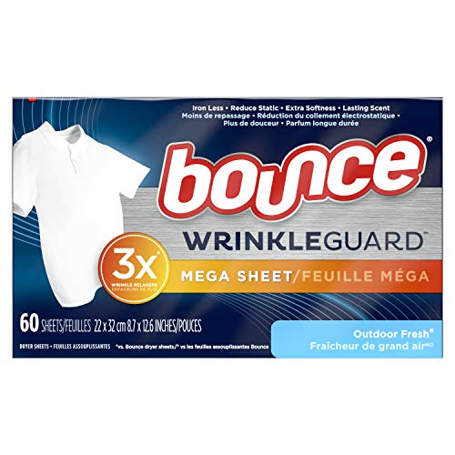 powerful Bounce Wrinkle Guard Mega Dry Sheet, Soft Finishing Agent, Wrinkle Smoothing Towel, Fresh Outdoor Fragrance, 120 (2 packs of 60)