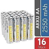 HEITECH AA Akku Mignon 2550 mAh 1,2V NiMH TÜV Probado 16 Piezas - baterías Recargables con Baja autodescarga - baterías Recargables para Dispositivos con Alto Consumo de energía