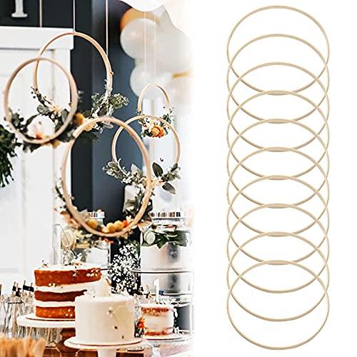 Set di 10 anelli acchiappasogni, 20 cm in legno di bambù ghirlanda di fiori Anelli in macramè Acchiappasogni rotondo in bambù cornice per ricamo fai da te per la decorazione della corona di nozze