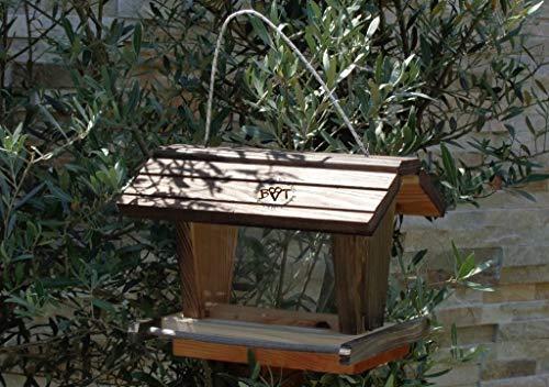 vogelhaus mit ständer BTVK-VOFU2G-MS-at001 NEU PREMIUM-Qualität,Vogelhaus,mit ständer, 3D-SILO – VOGELFUTTERHAUS MIT 2 GROSSEN SICHTSCHEIBEN Qualität Schreinerware 100% Massivholz – VOGELFUTTERHAUS MIT FUTTERSCHACHT-Futtersilo Futterstation Farbe schwarz lasiert, anthrazit / Holz natur, Ausführung Naturholz, mit KLARSICHT-Scheibe zur Füllstandkontrolle - 4