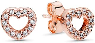 PANDORA Captured Hearts Stud Earrings, PANDORA Rose, Clear Cubic Zirconia, One Size