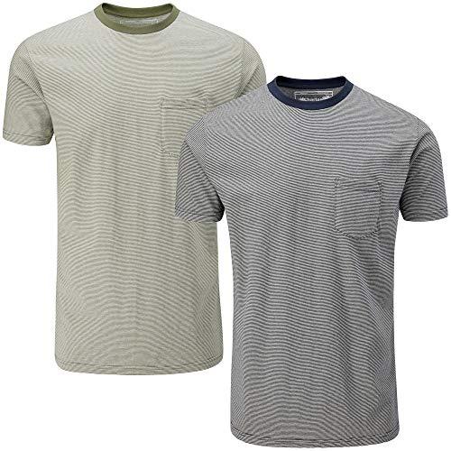 Charles Wilson 2er Packung Gestreiftes T-Shirt mit Rundhalsausschnitt und Tasche (Large, Navy & Grey)