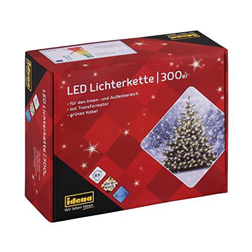 Idena 30441 - LED Lichterkette mit 300 LED in warmweiß, mit 8 Stunden Timer Funktion und Transformator, ca. 37,9 m lang, Innen- und Außenbereich, als Deko für Partys, Weihnachten, Hochzeit