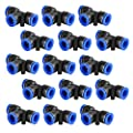 15 Pcs Push Fittings, Plastic Push to Connect Fitting Tube Tee Connect, Air Tool Fittings Pneumatic Quick Fittings Lock 1/4 inch OD (6mm)