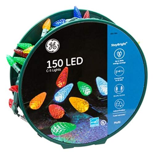 150 LED C-5 Lights Stay Bright Traditional Multicolor Lights Green Wire on Reel