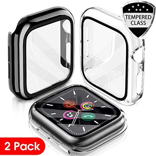 LeYi Cover Compatibile con Apple Watch 44mm Serie 5 / Serie 4, (2 Pezzi) Custodia Rigida PC Full Protezione in Vetro Temperato Integrata, Ultra Sottile per iWatch Apple Smart Watch Serie 5/4 44mm