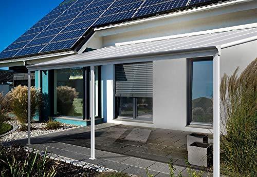 Home Deluxe - Terrassenüberdachung weiß - Maße 312 x 303 x 226/278 cm | Wintergartendach Verandaüberdachung Vordach