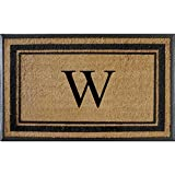 A1 Home Collections First Impression Markham Border Natural Rubber Double Door Extra Large Monogrammed Doormat-(29.5 X 47), w, A1HOME200102W