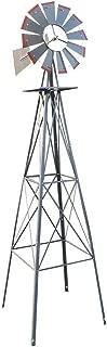 VINGLI 8FT Ornamental Windmill Backyard Garden Decoration Weather Vane, Heavy Duty Metal Wind Mill w/ 4 Legs Design, Grey