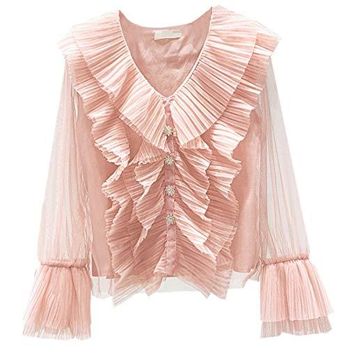 HanPaint Haufen langärmeliges Hemd Frauen Frühling Elegante Glockenhülse V-Ausschnitt Falten Mesh Tops Mädchen Bluse Pink One Size