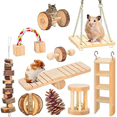 MQ Hamster Guinea Pig Toys, 10 Pack Natural Wooden Hamster Cages Accessories Chew Exercise Toys Set, for Rabbits Gerbils Rats and Other Small Pets