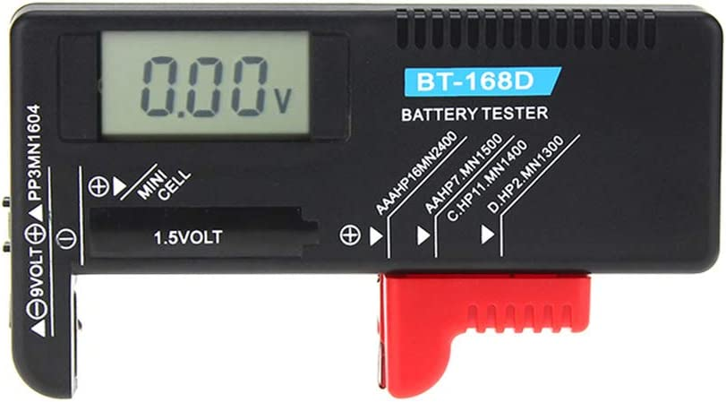 BT168D Digital Battery Capacity Tester - LCD for 9V 1.5V AA AAA Cell C D Batteries By Beinil