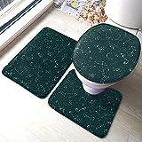 Vectorwith Constellations On Green Pizarra 3 piezas Juego de alfombras de baño para asiento de inodoro en forma de U, alfombrilla de pedestal y tapa de inodoro