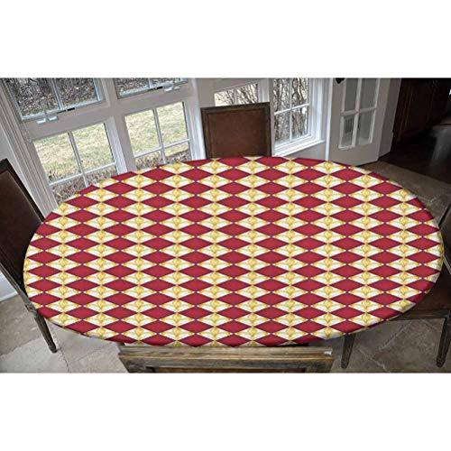 Fleur De Lis - Mantel ajustable de poliéster elástico, diseño de lirios reales de la cultura occidental, rectangular, ovalado, para mesas de hasta 122 cm de ancho x 172 cm de largo