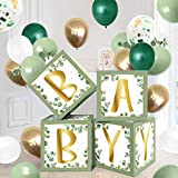 Sage Green Baby Balloons Boxes Decoration Baby Shower Backdrop Blocks Gender Reveal Photo Props Green Eucalyptus Gold White Boy Girl B-Day Favor Ideas