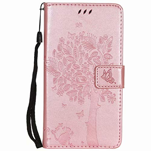 Google Pixel 5 XL Case Flip PU Leather Shockproof Wallet Phone Cases Tree Folio Slim Fit Magnetic Protective Cover TPU Bumper with Stand Card Holder Slots for Google Pixel 5 XL Rose gold