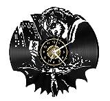 SKYTY Reloj De Pared De Vinilo - Joker Poker - Retro Atmosphere Silhouette Record Regalo Hecho A Mano Cool Home Art Decor con Luz Led De 12 Pulgadas