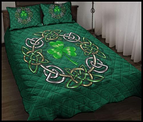 Irish Celtic Symbol Quilt Sets Birthday for Dad Mom Husband Wife Kids Son Daughter Unique Quilt Sets Best Decorative for Bedding Xmas Sofa
