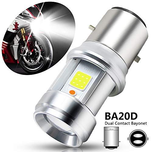 BOODLIED 1Pcs 2500Lumens H6 BA20D Motorcycle Headlight bulb 15.2Watts Super Bright Hi-Lo Beam Double Color Lights Conversion Kit.(Blue+White).