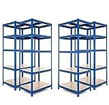 Racking Solutions - Ensemble de 4 Unités / Système de stockage en acier, charges lourdes, capacité de charge 275kg par tablette (5 niveaux 1800mm H x 900mm L x 600mm P) + Livraison Gratuite