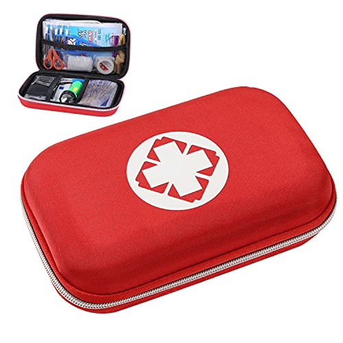 WEEYEE Botiquín de Primeros Auxilios, Mini Kit Primeros Auxilios, Bolsa Médica Portátil, Adecuado para Automóvil, Familia, Viajes, Camping, Oficina o Deportes, Emergencias (rojo)