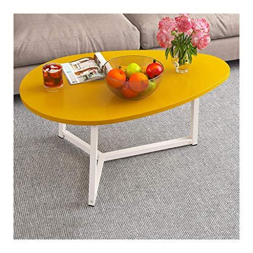 AABBC Mesa de Centro Hierro nórdico Ovalado Sala de Estar Simple Mesa de apartamento pequeña Simple Mesa de té Creativa (Color: Blanco)