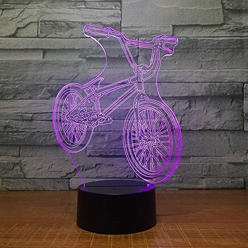 DeXin 3D Mountain Bike Night Light 7 Color Touch Rechargeable LED Energy Saving Table Lamp