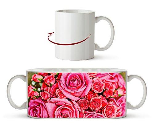 Anillos de boda con hermoso efecto de rosas: dibujo como taza de 300 ml, de cerámica blanca, maravilloso como regalo o su nueva taza favorita.