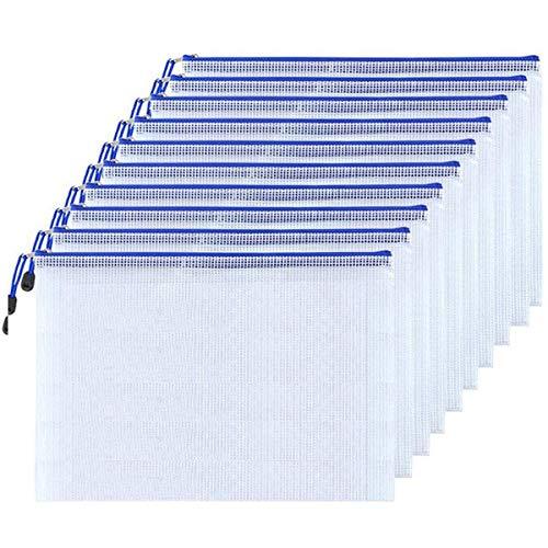 Feilikaジッパー式ファイルバッグ PVC製ファイルケース クリアファイル 半透明 防水&耐油 出張収納 書類整理 メモ コイン 旅行 アクセサリー 化粧品の保管ファイルホルダー 10個入りセット (B4(39*28CM))