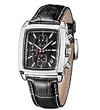 MEGIR Orologio da uomo quarzo Cronografo rettangolare calendario luminoso orologio da polso nero...