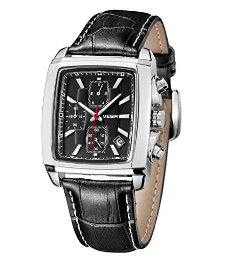 MEGIR Herren Uhren Rechteckig Klassische Chronograph Quarz mit Schwarz Lederarmband