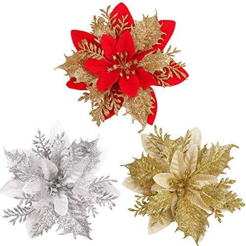 ODOOKON 3 Pcs Flores de Navidad, Adorno Brillo Artificial Navidad Flores Rojas, Dcoracion Flores Oro Artificales para Árbol de Navidad y Guirnalda Rojo Dorado Plata