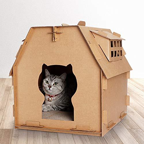 Faderr Katzenhaus Möbel Haustier Wellpappe Karton Kratzbrett Kätzchen haben kleine Fenster DIY Spielzeug Indoor Selbstmontage Werkzeug