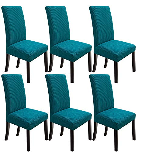 NORTHERN BROTHERS Dining Room Chair Covers Stretch Chair Covers for Dining Room Parsons Chair Slipcover Set of 6,Teal