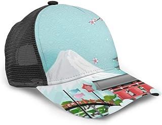 Gorra de béisbol Publicidad de Viajes Japón Concepto Japonés Famoso Malla Ajustable Gorra de béisbol Unisex Sombrero de Camionero Se Adapta a Hombres Mujeres Sombrero