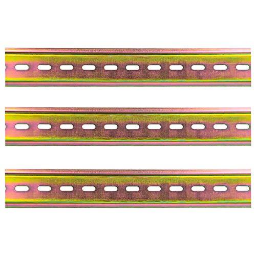 Mitening 3 Stück Montageschiene DIN-Schiene Farbe Stahl DIN Schiene für Verteilerschrank Schaltschrank Einbau, 35mm Breit, 7,5mm Hoch, Lang 200mm/7,9 Zoll