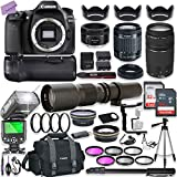 Canon EOS 80D DSLR Camera w/ 18-55mm Lens Bundle + Canon 75-300mm III Lens, Canon 50mm f/1.8 & 500mm Preset Lens + Battery Grip + Canon Case + 96GB Memory + Speedlight Flash + Professional Bundle