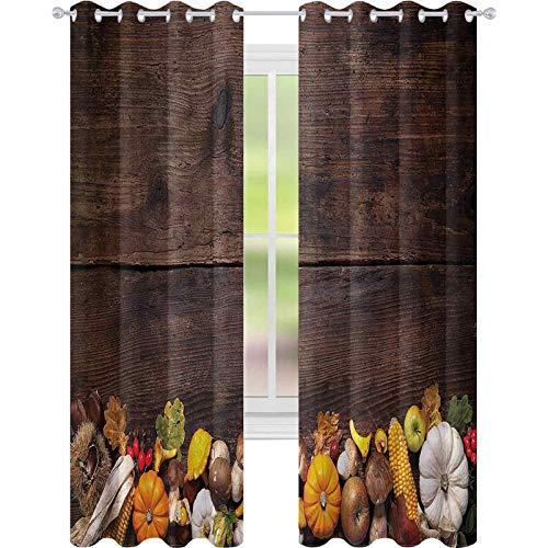 Cortinas para sala de estar de acción de gracias tablero de madera con alimentos W52 x L84 cortina de reducción de ruido