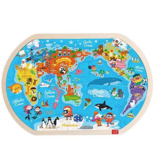 MMI-LX LYRONG - Rompecabezas de madera para niños, 45 x 30 cm, diseño de mapamundi grande, educación temprana, juguetes cognitivos educativos, interacción entre padres e hijos (color: blanco)