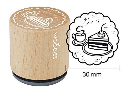 Woodies Stempel Kaffee und Kuchen, Holz, 3,4x 3,4x 3,5cm