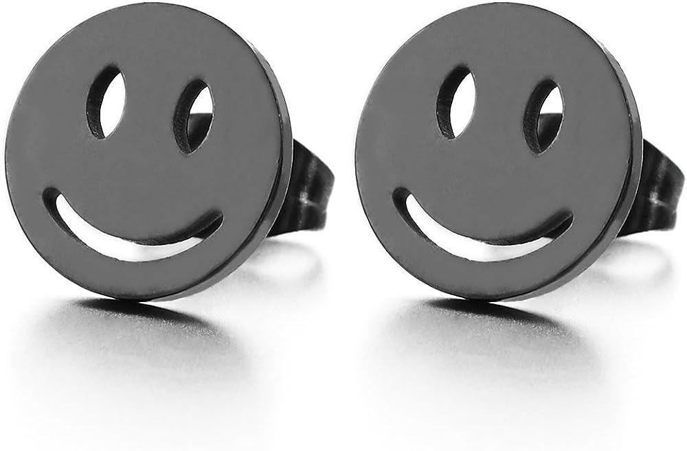 10MM Smiling Face Black Circle Stud Earrings in Stainless Steel for Men Women, 2pcs