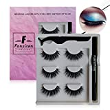 False Eyelashes with Eyeliner Kit, FANXITON 3 Pairs Full Faux Mink Eyelashes with Eyeliner - Extra Strong Hold for Lashes - No Magnet and No Glue Needed