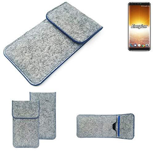 K-S-Trade Handy Schutz Hülle Für Energizer P600S Schutzhülle Handyhülle Filztasche Pouch Tasche Hülle Sleeve Filzhülle Hellgrau, Blauer Rand