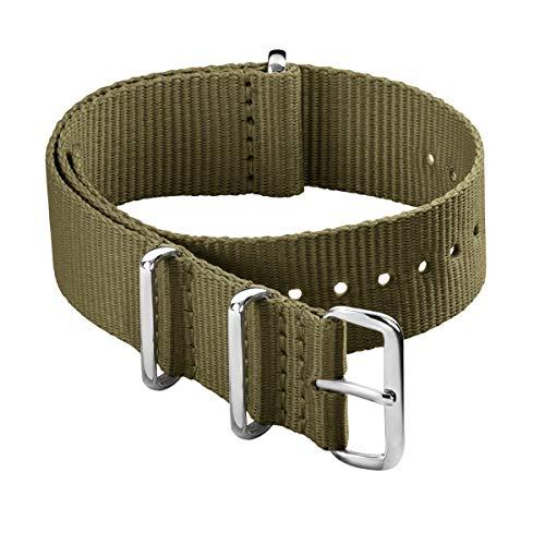 Archer Watch Straps - Bracelet de Montre Classique en Nylon de Style NATO - Olive, 18mm