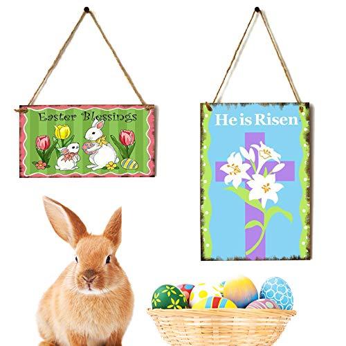 2 Piezas Colgantes de Madera de Puerta de Conejo de Pascua Decoración de Pared de Feliz Pascua He is Risen Cartel Colgante Madera de Conejo Letrero Decorativo Saludos de Pascua, 2 Estilos