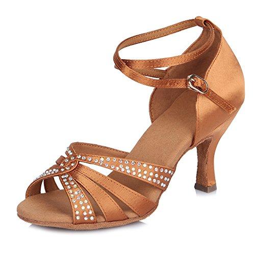 HIPPOSEUS Zapatos de Baile de salón Latino para Mujer con Strass Zapatos de Fiesta de...