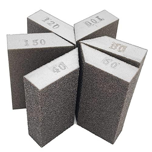 12 Pack Angled Sanding Sponge, 40/60/80/100/120/150 Wet Dry Sanding Blocks Set, Great for Pot Brush Pan Brush Sponge Brush Glasses Sanding Wood Sanding Metal Sanding, Washable and Reusable